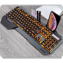 Gaming Tastatur Wired Ergonomische Tastatur Mit RGB Hintergrundbeleuchtung Telefon Halter Gamer Tastatur Für Tablet Desktop Für PUBG
