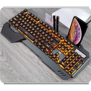 Image 1 - لوحة مفاتيح الألعاب السلكية مريح لوحة المفاتيح مع RGB الخلفية حامل هاتف الألعاب لوحة المفاتيح لسطح المكتب اللوحي ل PUBG