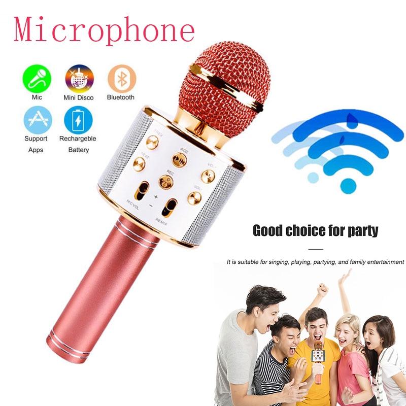 Беспроводной микрофон Bluetooth 3D бас караоке микро домашний KTV для воспроизведения музыки микрофон профессиональный микрофон
