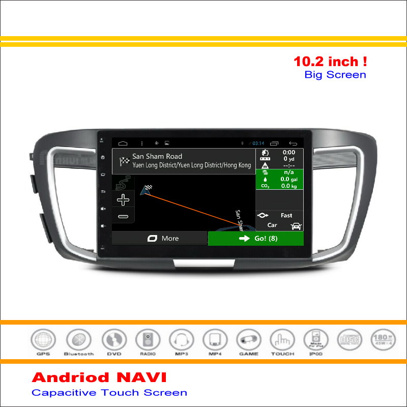 Car Android GPS Navigation System For Honda Accord 9 2014 2015 2016 Stereo Radio Stereo Audio Multimedia HD Screen Display TV image