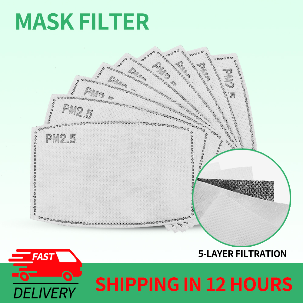 50/100/200 Pcs PM2.5 Filter Mask Paper 5 Ply Anti Dust Mouth Face Mask Activated Carbon Filter Paper For Adult Kids Child