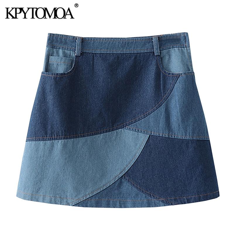 KPYTOMOA Women 2020 Chic Fashion Patchwork Denim Mini Skirt Vintage High Wasit Side Zipper Female Skirts Casual Faldas Mujer