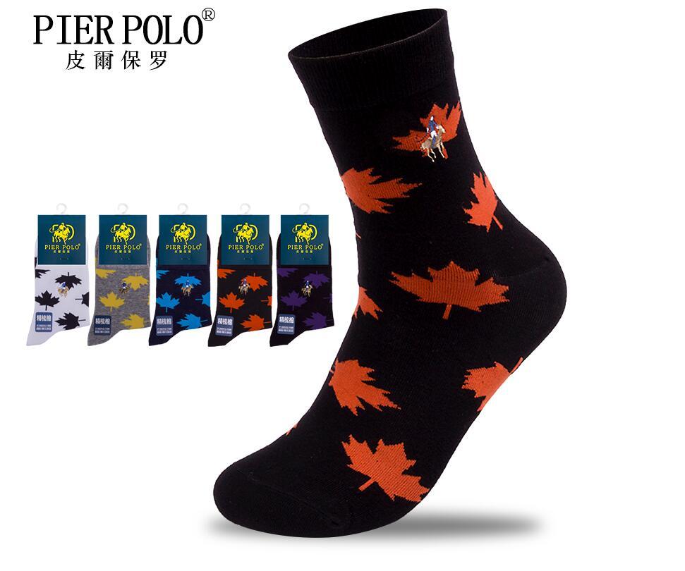 New Fashion Socks 5 Pairs/lot Brand Men Pier Polo Socks Happy Meia Men's Socks Business Embroidery Cotton Socks Calcetines