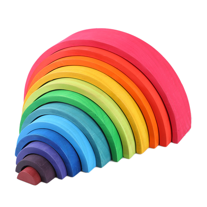 2020 Hot Arch Bridge Rainbow Semicircle Building Decoration Child Early Learning Wooden Bending Board Toy Wooden Large 12 Pieces