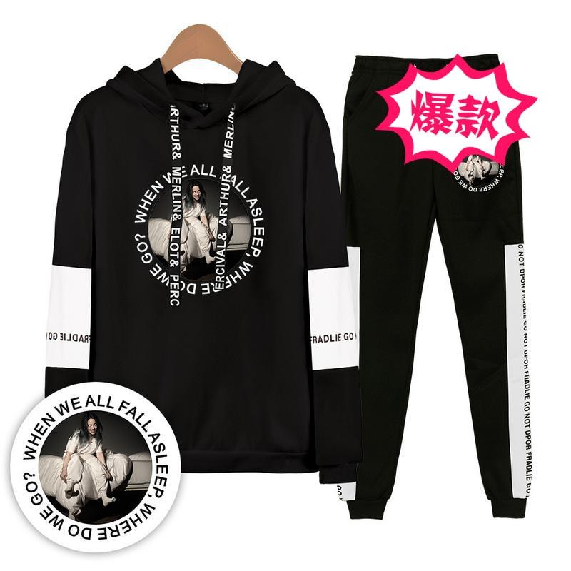 2019 Billie Eilish America Singer Casual Hooded Sweater + Skinny Pants Set