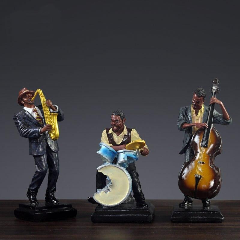 Statue de décoration de groupe de rock européen et américain clavier de guitare classique ornements de sculpture de chanteur errant