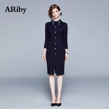 ARiby Women Solid Nail Bead Office Lady Dress 2019 Autumn New Fashion Temperament Full Sleeve Lapel Sheath Knee-Length