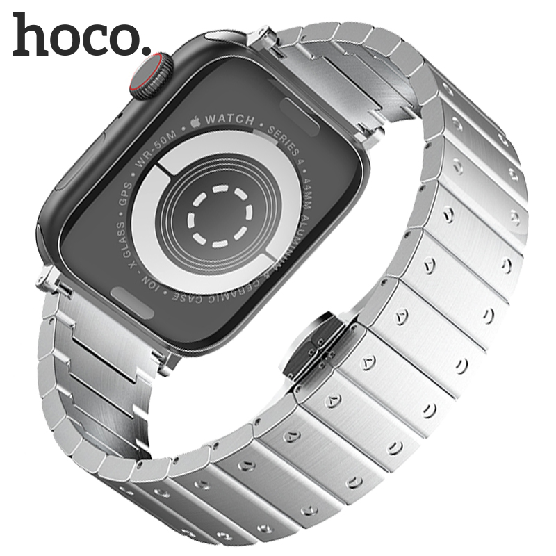 Hoco Stainless Steel Bracelet Watchband for Apple Watch Series 4/3/2/1 Strap Metal Butterfly Buckle Band for Iwatch40/38/44/44mm|Watchbands| |  - title=