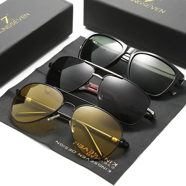 3個複合販売kingseven偏光サングラス男性のためのナイトビジョンoculosデゾル男性のファッション駆動眼鏡