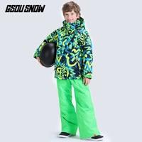 GSOU SNOW Kids Ski Suit Boys Girls Skiing Jacket Pant Snowboard Clothing Trouser Winter Warm Suit Outdoor Sport Wear Windproof