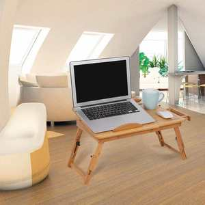 Bamboo Adjustable Panel Notebook Computer Support Bracket Telescopic Liftable Leg Laptop Table Bed Desk With Cooling Hole Drawer