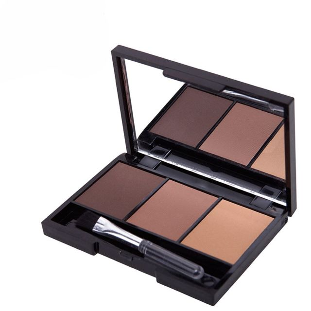3 Colors Long Lasting Eyebrow Powder Shadow Palette with Soft Brush and Mirror brilliant eye makeup 2