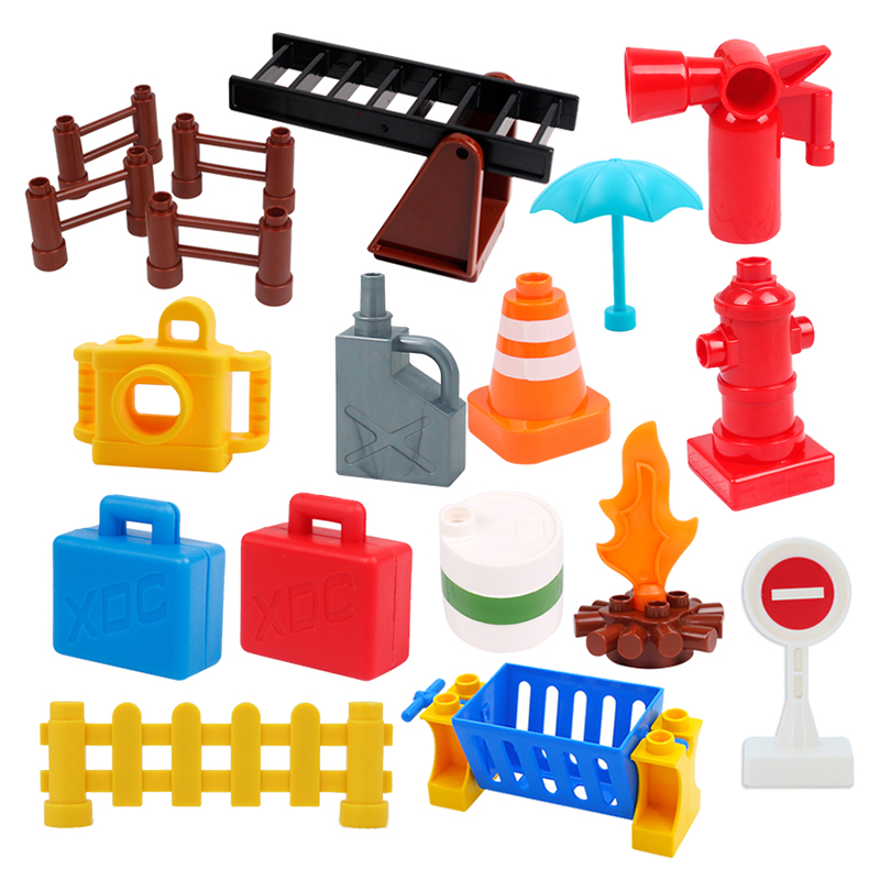 Fashion Duplos City Fire Fighting Tool Stair Slide Street Light Brick Big Particles Building Blocks Educational Toy For Children