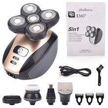 Rasoir électrique Rechargeable 4D 5 en 1 pour hommes, 5 têtes flottantes, barbe, nez, oreilles, cheveux, brosse faciale rasoir