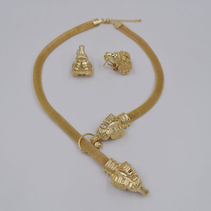 Image 3 - High Quality Dubai Gold color Jewelry Set For Women african beads jewlery fashion necklace set earring jewelry