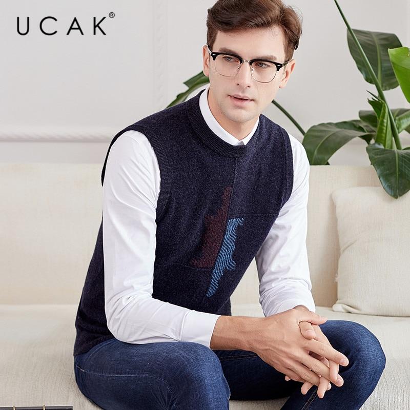 UCAK Brand Pure Merino Wool Sweater Vest 2019 New Arrival Casual Autumn Winter Pull Homme Streetwear Warm O-Neck Sweaters U3112
