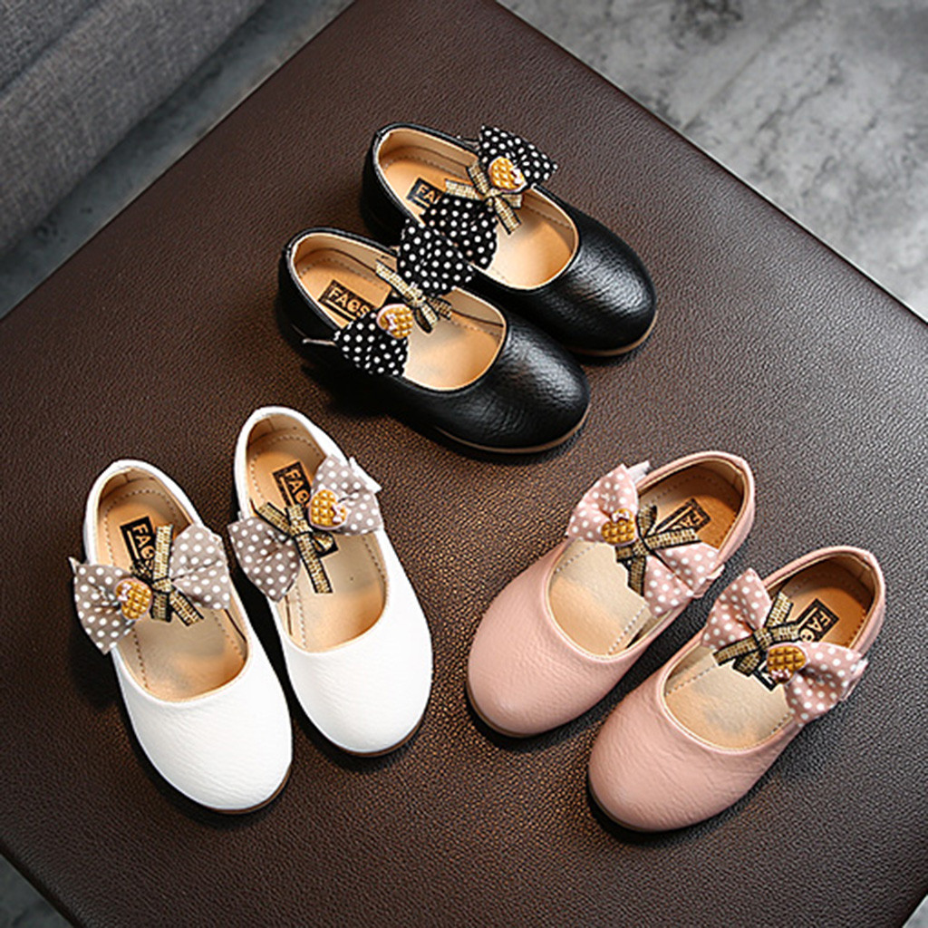 Toddler Toddler Infant Kids Baby Girls Butterfly Knot Princess Leather Shoes Dance Shoes Leather Wedding Dress Shoes Soilld