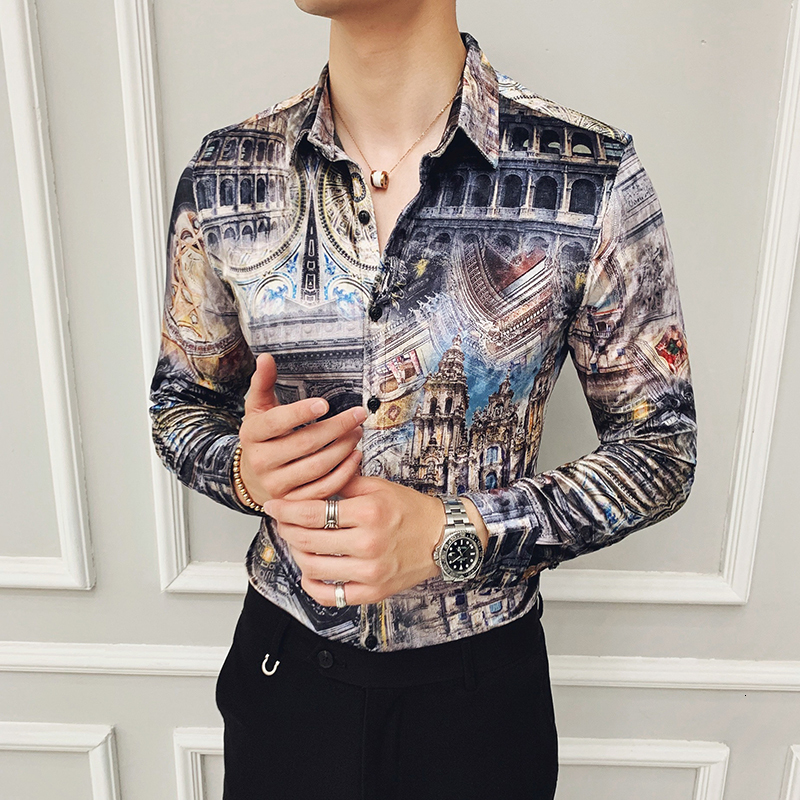 Luxury Velvet Men Shirt Long Sleeve Casual Shirts Autumn And Winter Keep Warm Print Slim Fit Dress Mens Business Shirts Camisa