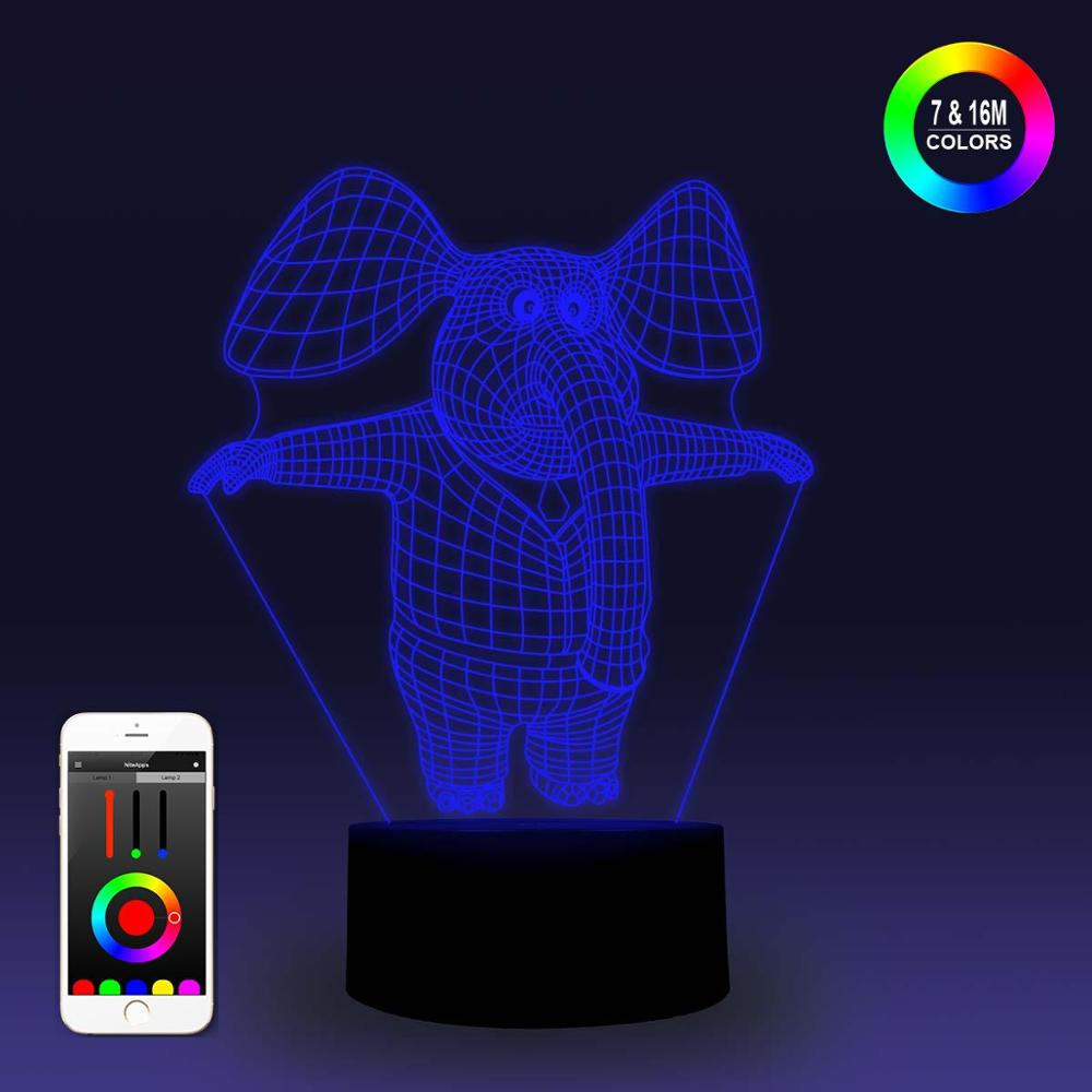 NiteApps 3D Cartoon Elephant Night Light Desk Table Illusion Decoration Lamp Holiday Birthday Gift APP/Touch Control