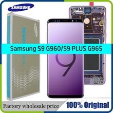 Tela sensível ao toque para Samsung Galaxy S9 S9+, reposição original de amoled, tela LCD sensível ao toque, leitor de digital com moldura, display G960 G965