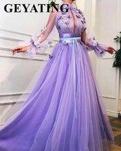우아한 보라색 라벤더 3d 꽃 나비 이브닝 드레스와 긴 소매 아랍어 여성 정식 가운 긴 두바이 댄스 파티 드레스