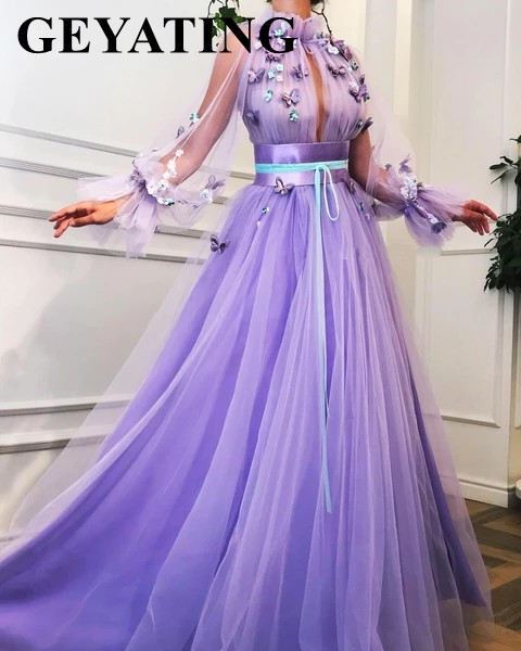 Elegant Purple Lavender 3D Floral Butterflies Evening Dress with Long Sleeves Arabic Women Formal Gowns Long Dubai Prom Dresses-in Evening Dresses from Weddings & Events