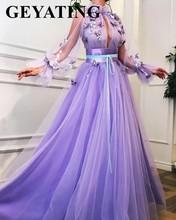 Elegant Purple Lavender 3D Floral Butterflies Evening Dress with Long Sleeves Arabic Women Formal Gowns Long Dubai Prom Dresses