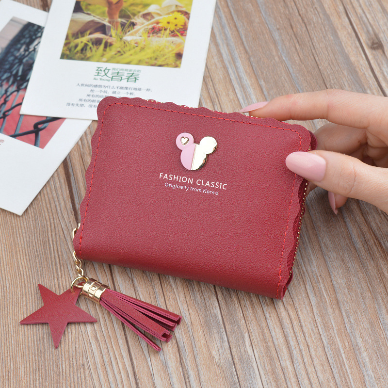 Disney Mickey Mouse Small Wallet Lady Short Zipper Tassel Key Coin Purse Student Small Mini Wallet Minnie Card Holder Clutch