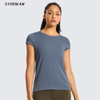 SYROKAN damska lekka koszulka sportowa z wrzosem odzież sportowa bieganie trening siłownia koszule z krótkim rękawem tanie i dobre opinie WOMEN Pasuje prawda na wymiar weź swój normalny rozmiar Szybkie suche Sports T-Shirt 93 (Polyamide+Polyester) 7 Spandex