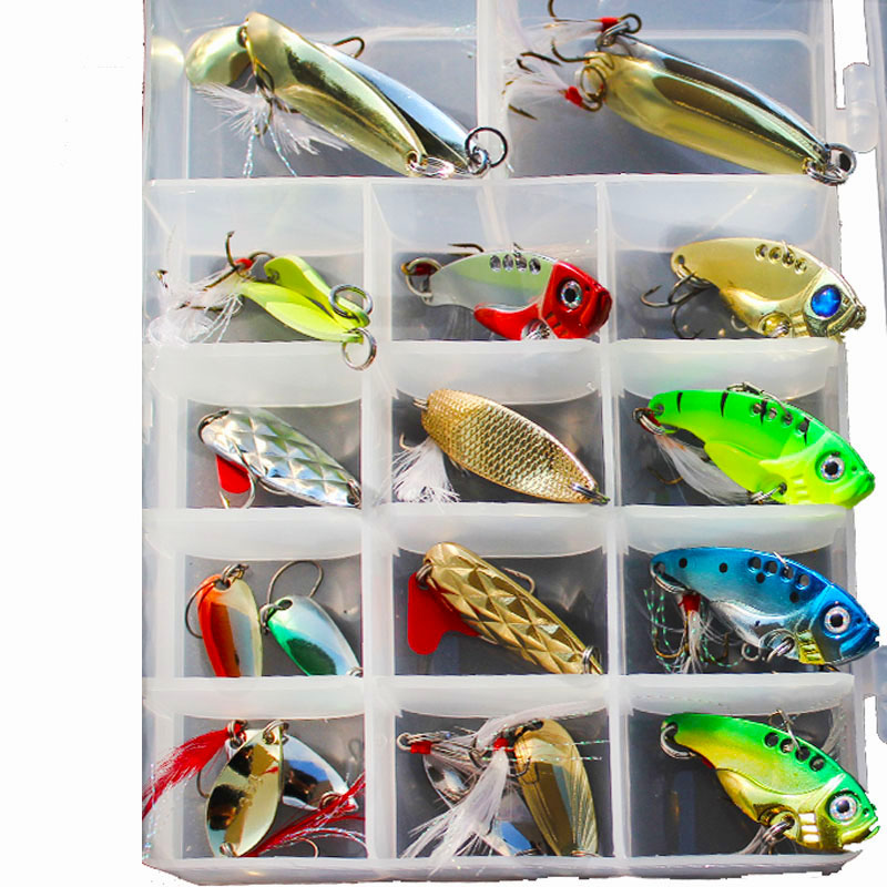 Mixed Colors Fishing Lures Spoon Bait Metal Lure Kit Artificial Hard Pike Bait