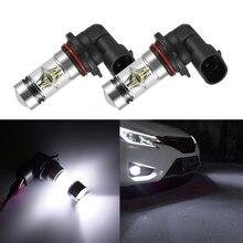2pcs H10 100W 9145 6000K White LED Headlight Bulbs Kit Fog Light Vehicle 12-24V Driving Fog Light