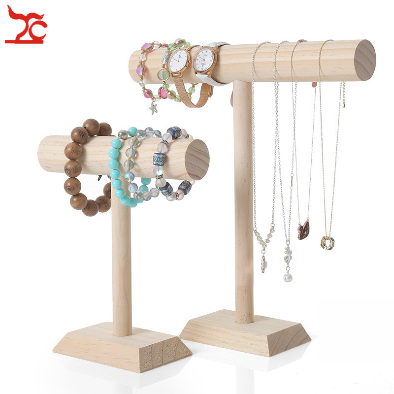 Wooden Jewelry Bracelet Necklace Watch Display Stand/Holder/Shelf T-bar Jewelry Packaging  Necklace Display