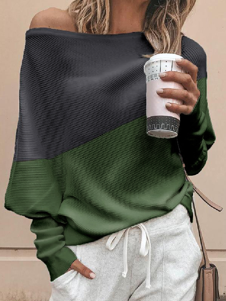 2019 Autumn Women Elegant Fashion Casual Top Female Stylish Leisure Blouse Skew Neck Colorblock Insert Batwing Sleeve Blouse