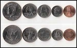 Set 5Pcs USA 1 5 10 25 50 Cents President Coins America 100% Real Original Coin Collection(China)