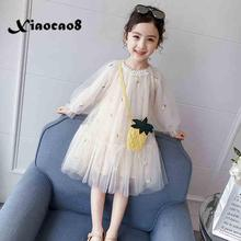 Girls Pink White Mesh Princess Dress Kids Long Sleeve Dresses for Girls Cute Pearl Bag Dress Children Toddler Spring Clothes цена 2017