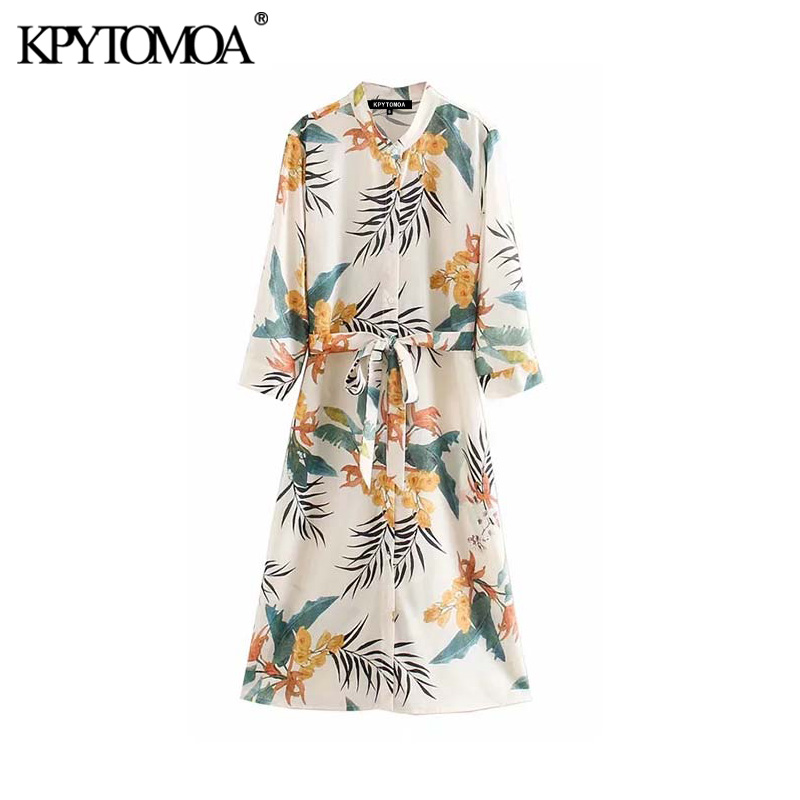 Vintage Elegant Floral Print Bow Tie Sashes Midi Dress Women 2020 Fashion Stand Collar Long Sleeve Female Dresses Vestidos Mujer