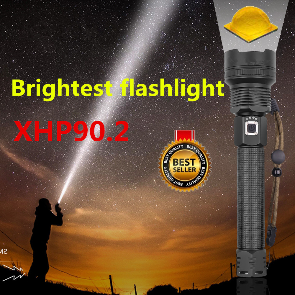 Brightness XHP90 LED Torch Tactical Flashlights Zoom Long-range Flashlight Lantern Use 18650/26550 Battery Camping Hunting