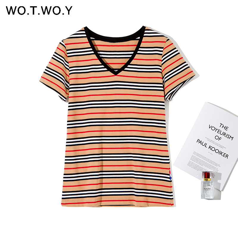 WOTWOY Fashion Striped V-Neck Knitted T-Shirts Women Summer Casual Cotton Short Sleeve Tee Shirt Female Plus Size Tops Harajuku