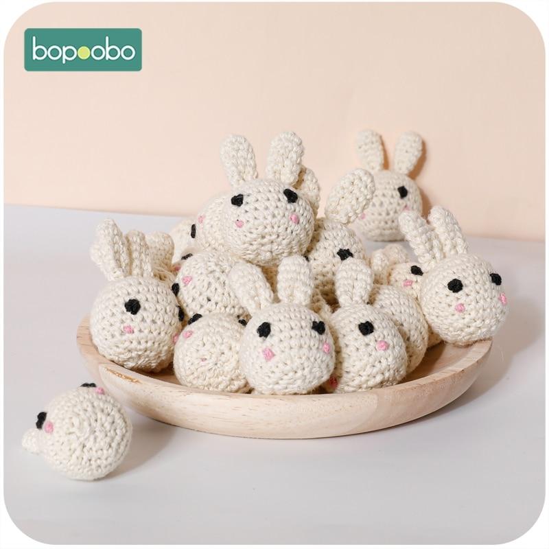 Bopoobo 1/5pc Wooden Crochet Beads Panda Chewable Beads DIY Wooden Teething Knitting Beads Jewelry Crib Sensory Toy Baby Teether