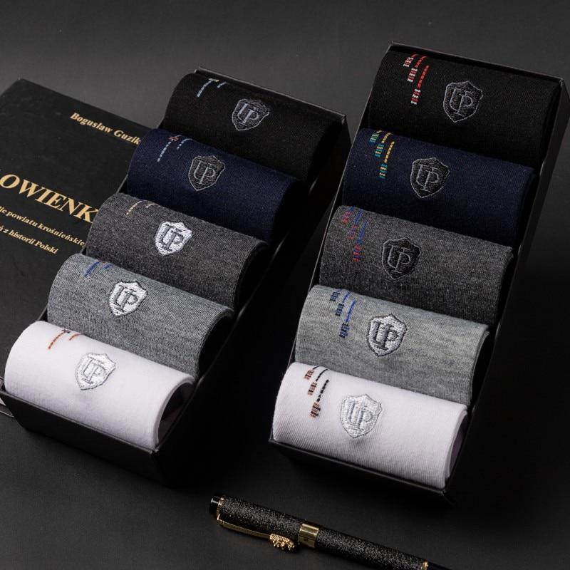 New Man Good Premium Embroidery LOGO Quality Business Socks Casual OL Working Rhombus 95% Cotton Socks 20pcs=10pair Size39-44