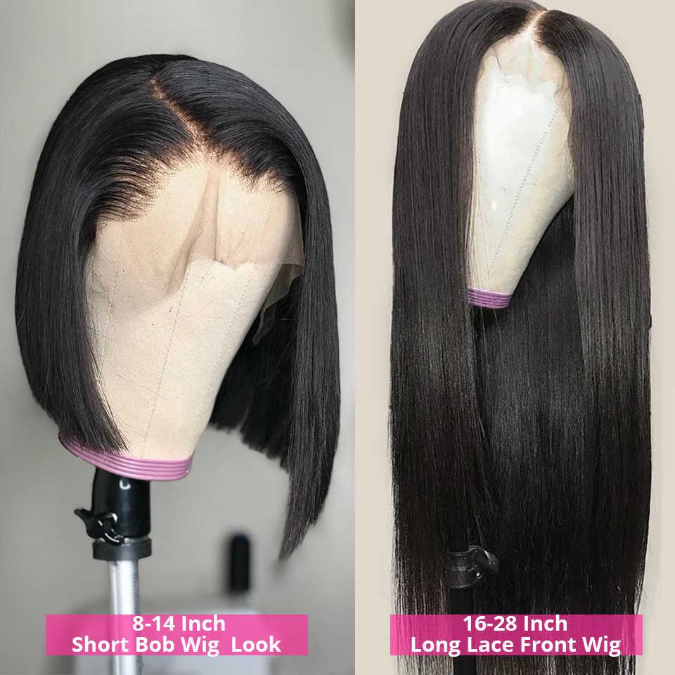 Brazylijski 100% prawdziwe ludzkie włosy peruki 13x4 Remy prosto koronki przodu włosów ludzkich peruk dla czarnych kobiet 28 Cal koronkowa peruka na przód 150%