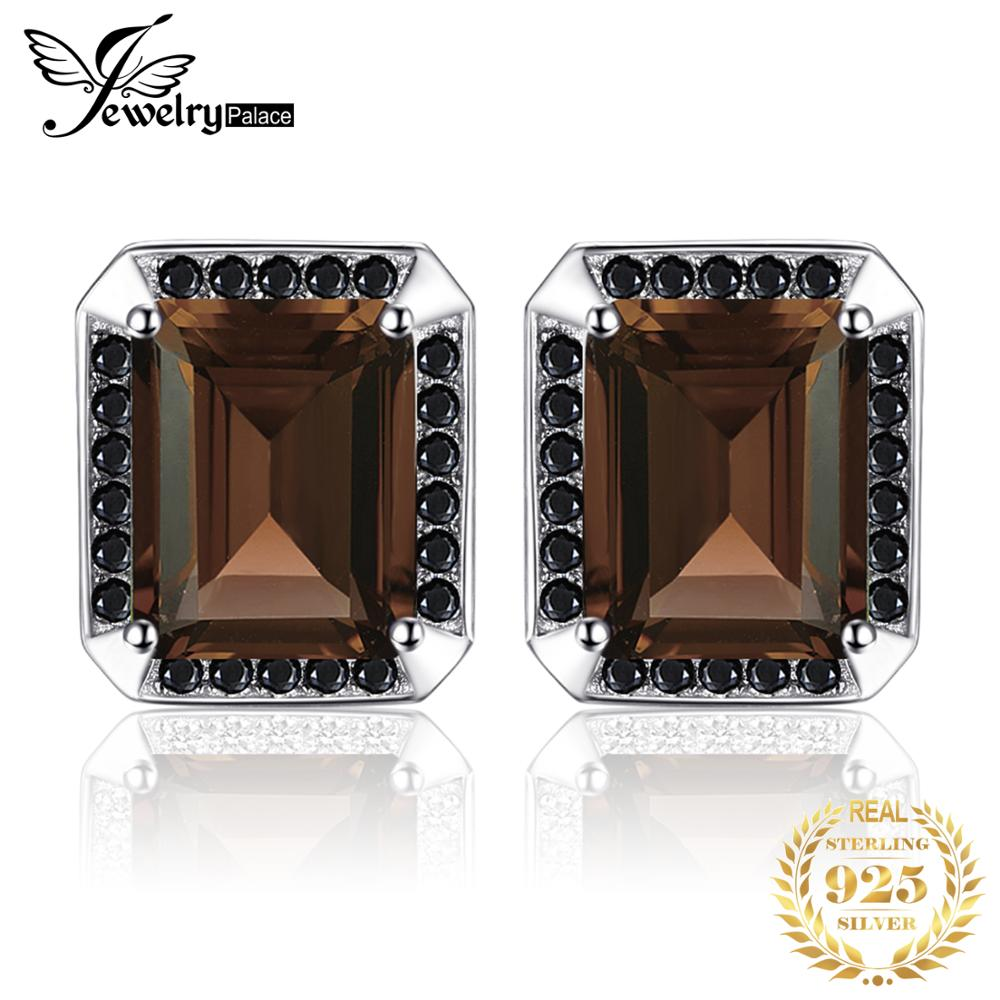 Jewelrypalace Men's Natural Smoky Quartz Black Spinel Anniversary Wedding Cufflinks 925 Sterling Silver
