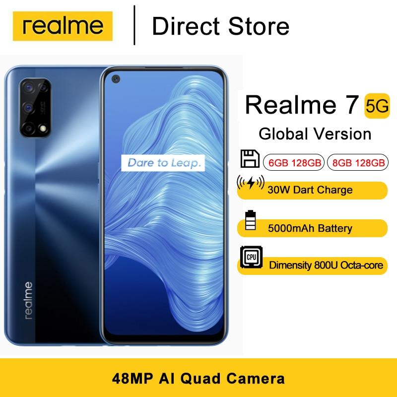 Version mondiale Realme 7 5G Smartphones 6GB/8GB RAM 6.5 pouces Dimensity 800U octa-core 48MP AI Quad caméra 5000mAh téléphones portables