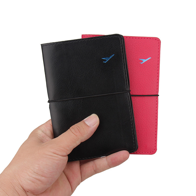 Zounake Retro Elastic Bandage Aircraft PU Leather Passport Cover Case Holder Wallet Passport Ticket Travel Accessories ZSPC14