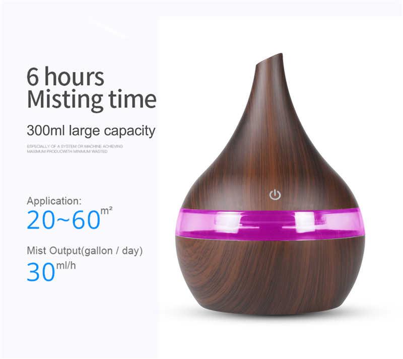 300ml usb hava nemlendirici elektrikli Aroma hava difüzörü ahşap ultrasonik uçucu yağ aromaterapi serin mist maker ev araba için