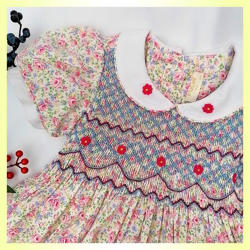 2020summer New Arrivals Princess Charlotte Embroidered Short Sleeve smocking Dress Girls 3-7 Years Old Kids Dresses for Girls