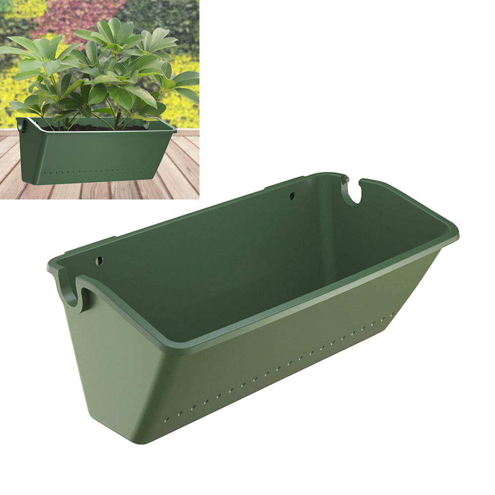 Rectangular Plant Flower Pot Garden Balcony Outdoor Container Green Wall-mounted Plastic Planting Box Household Items