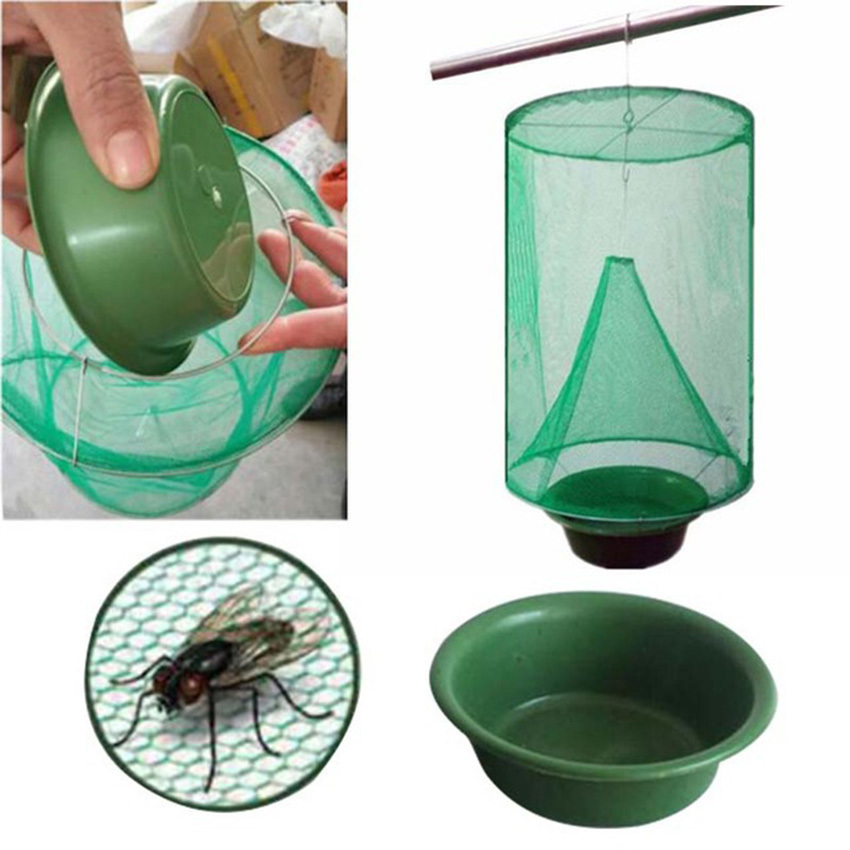 Pest Control Reusable Hanging Fly Catcher Killer Flies Flytrap Zapper Cage Net Trap Garden Home Yard Supplies 1PCS