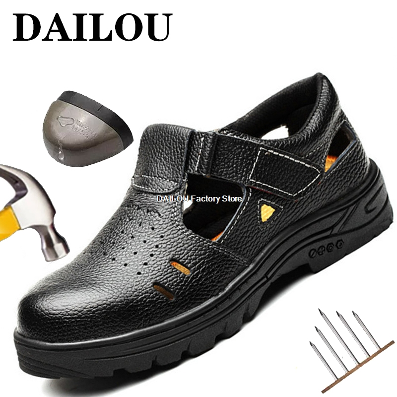 Breathable Lightweight Men Safety Shoes Steel Toe Cap Work Shoes Men Work Sandals Construction Anti-smashing Safety Work Boots
