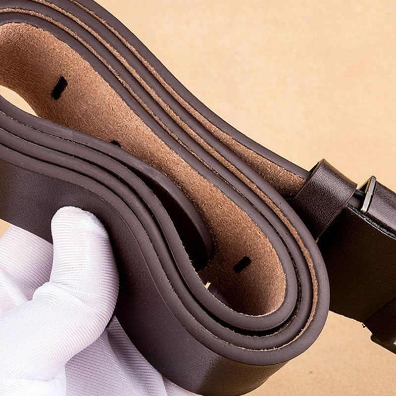 Mewah Merek Desain Sabuk Kulit Asli Ikat Pinggang untuk Pria Hitam Pin Gesper Vintage Sabuk Jeans 3.8 Cm Lebar Cinturones untuk hombre